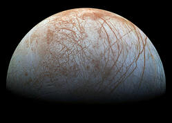 Europa rising, image provided by NASA